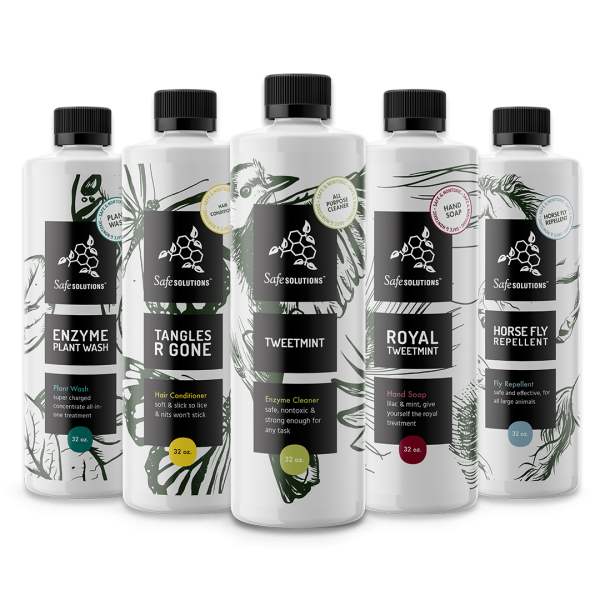 safesolutions nontoxic  household products enzyme plant wash, tweetmint, tangles r gone and horse fly repellent